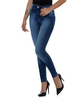 calça skinning feminina cós alto