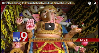 Devotees throng to Khairathabad to visit tall Ganesha