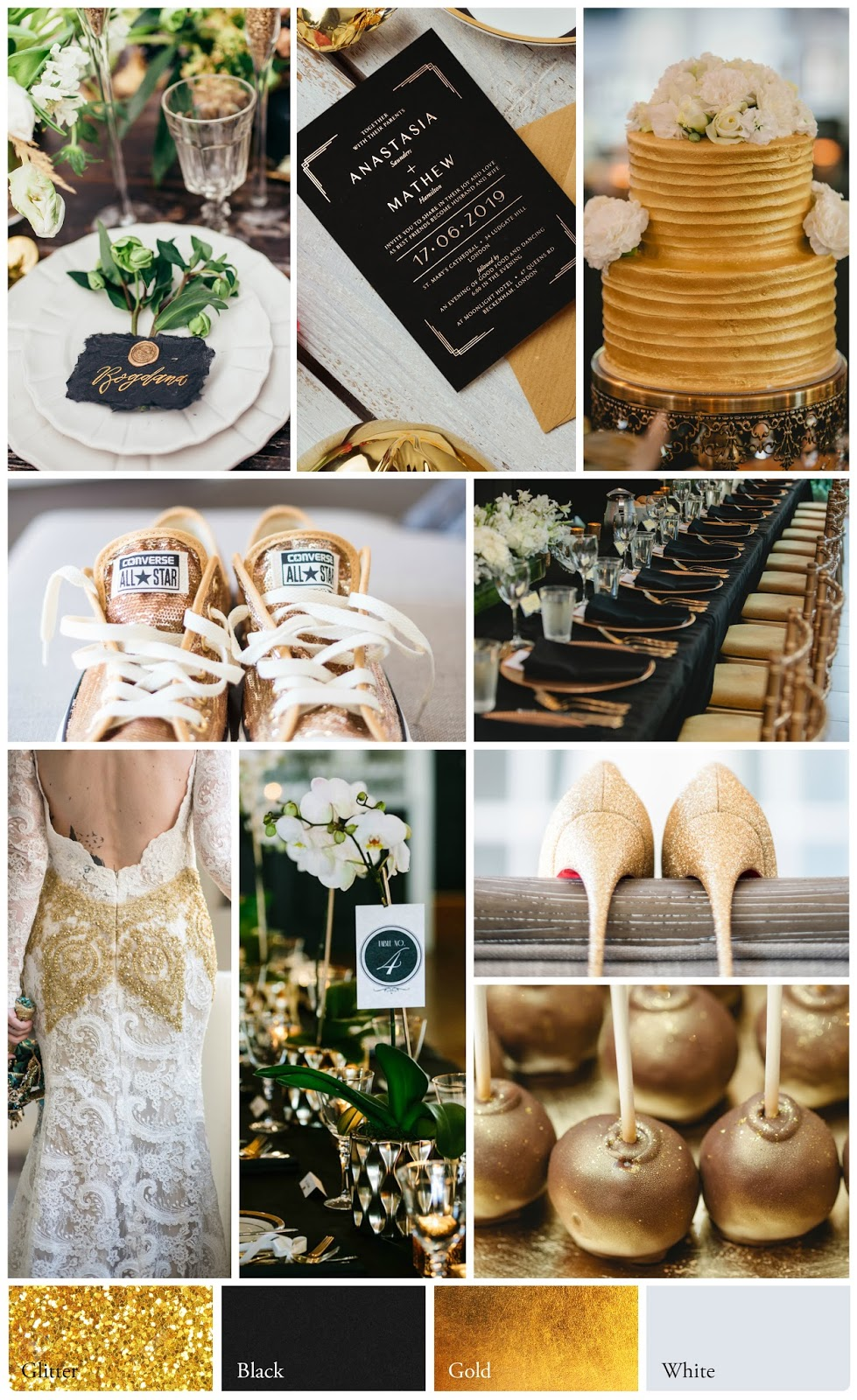 Charcoal, Ivory, Metallic Gold Wedding Palette