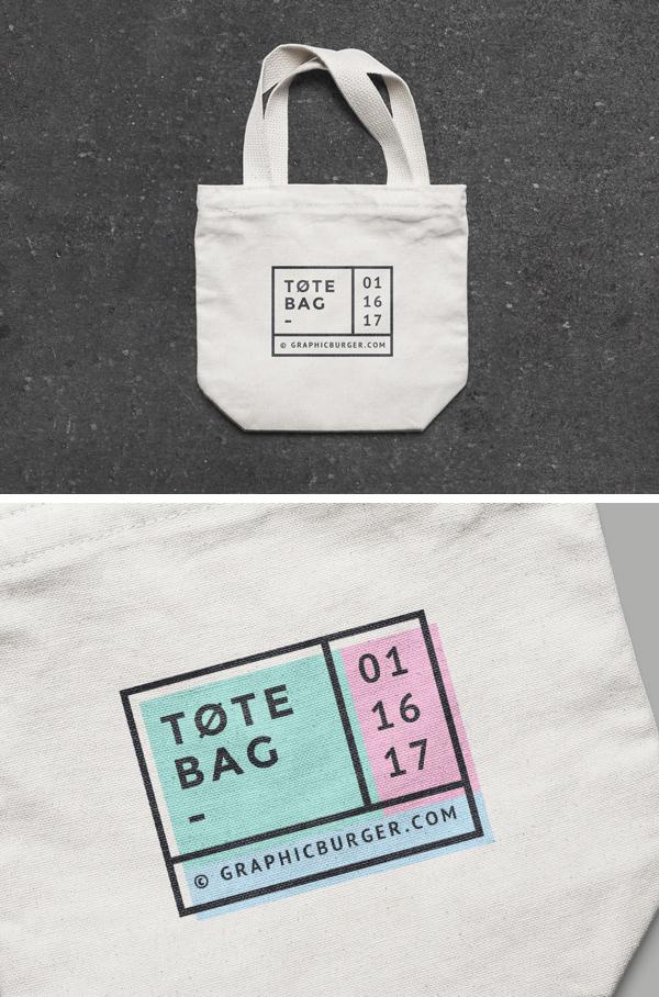 Mockup terbaru 2017 gratis - Free Small Canvas Tote Bag MockUp