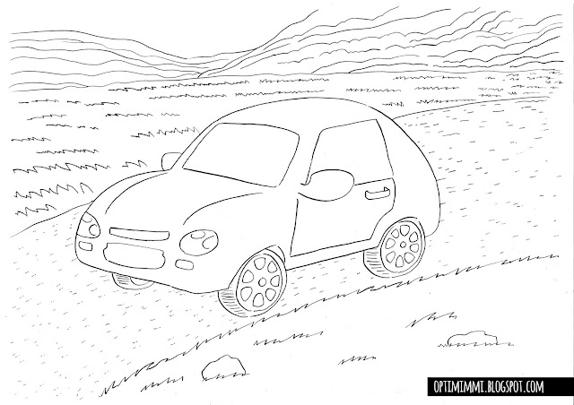 A coloring page of a car / Värityskuva autosta