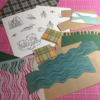 Lost at the Lake Pop-up Box Card by July Guest Designer Milene Tiberius  | Winston's Lake House by Newton's Nook Designs #newtonsnook #handmade