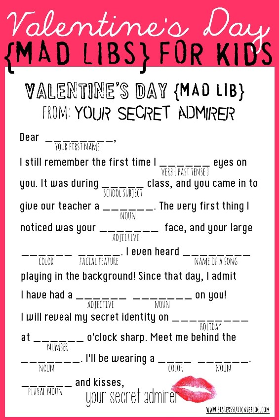 photograph relating to Valentine Mad Libs Printable identified as Valentines Working day Insane Libs - My Sisters Suitcase - Packed