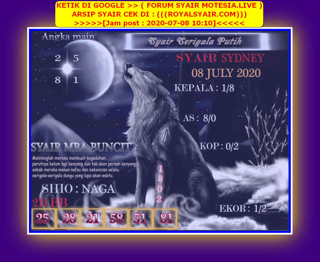 Kode syair Sydney Rabu 8 Juli 2020 151