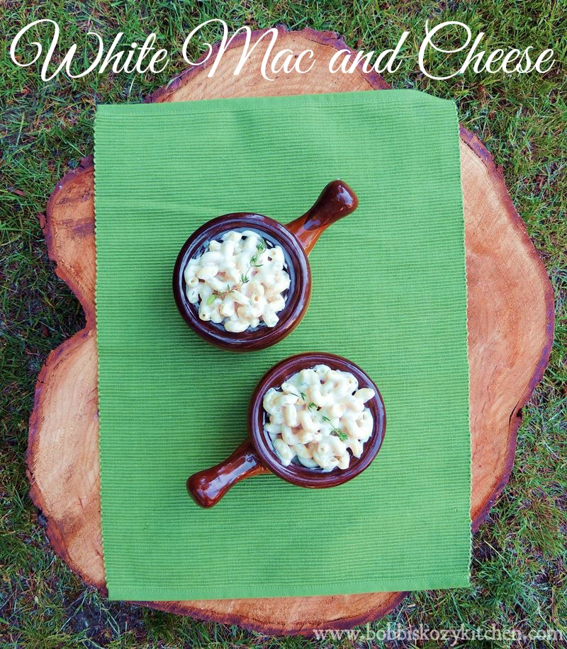 Creamy White Mac and Cheese - a combination of sharp white cheddar cheese, white American, Parmesan, and cream cheese from www.bobbiskozykitchen.com.