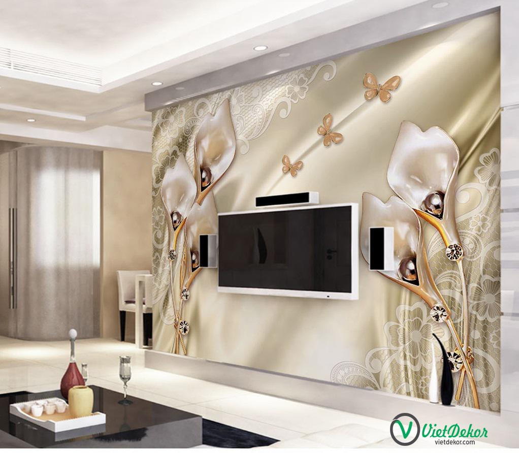 Tranh dán tường 3d hoa loa kèn trang trí nhà cửa