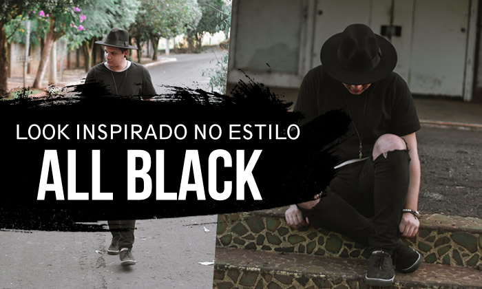 Look Masculino All Black Chapéu Fedora
