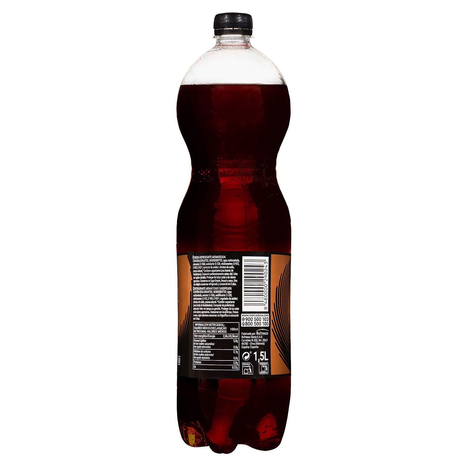 Refresco de cola zero azúcar sin cafeína Hacendado