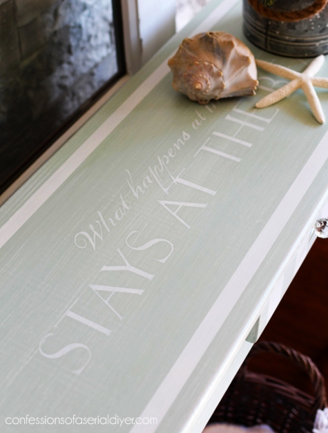 Table Top Paint Furniture Makeover with Beach Quote Stencils