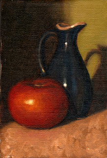 Oil painting of a red tomato beside a blue porcelain sauce jug.