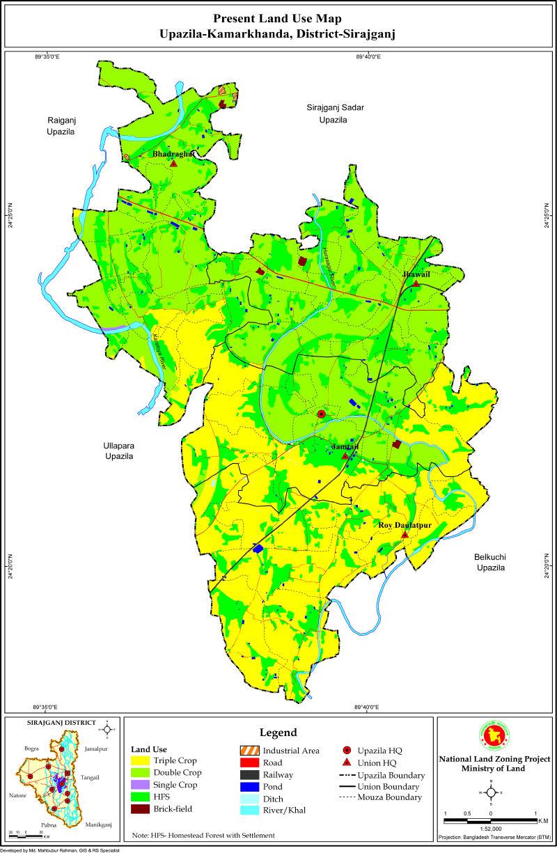 Kamarkhand Upazila Mouza Map Sirajganj District Bangladesh