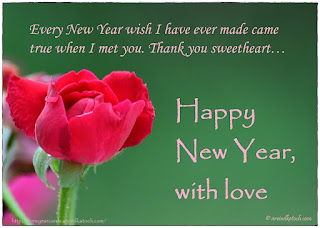 Red Rose, Happy New Year, Card, Love, Wish, True, Sweetheart,