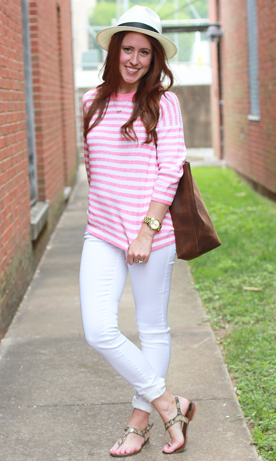 547cccdd { What I Wore: J.Crew panama hat & striped sweater // Nisolo tote //  Celebrity Pink jeans* // Michael Kors sandals & watch }