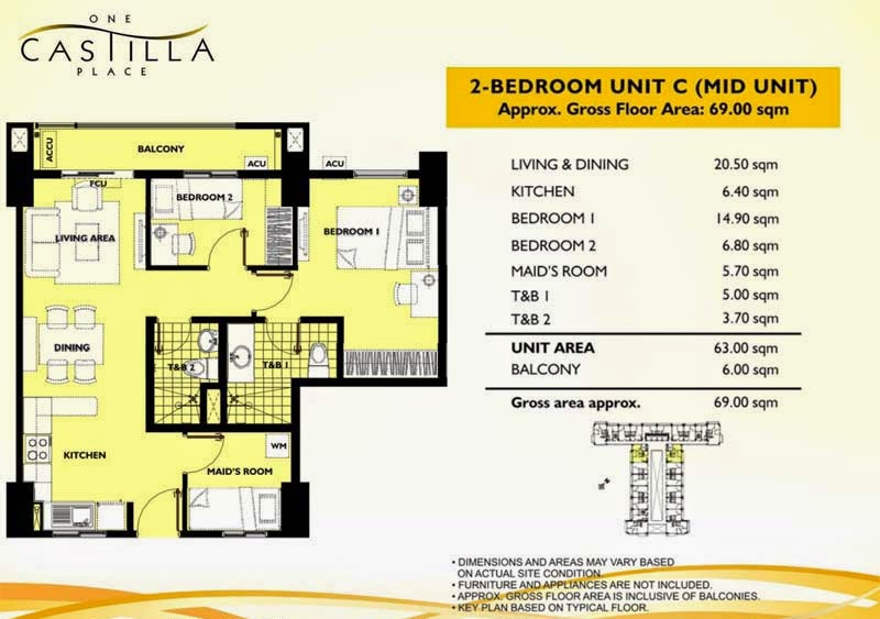 One Castilla Place 2 Bedroom Unit-C