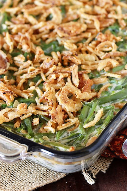 Classic Green Bean Casserole with Fried Onions Topping Image