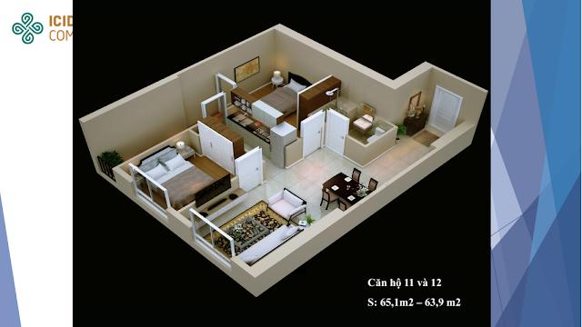 Thiết kế căn hộ 11 - 12 chung cư ICID COMPLEX
