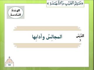 حل درس المجالس وآدابها في التربية الاسلامية للصف السابع الفصل الثالث بوربوينت