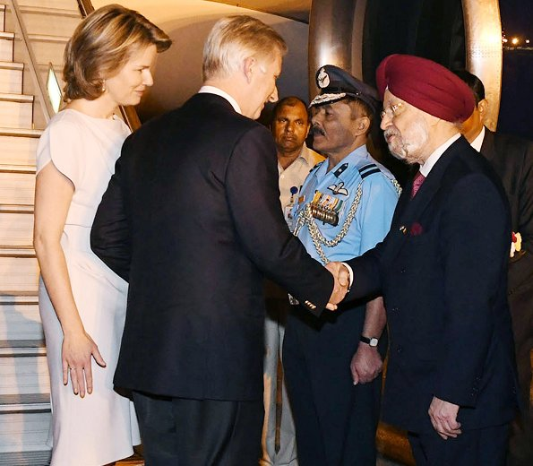King Philippe and Queen Mathilde of Belgium arrived in New Delhi. Queen wore Armani shoes