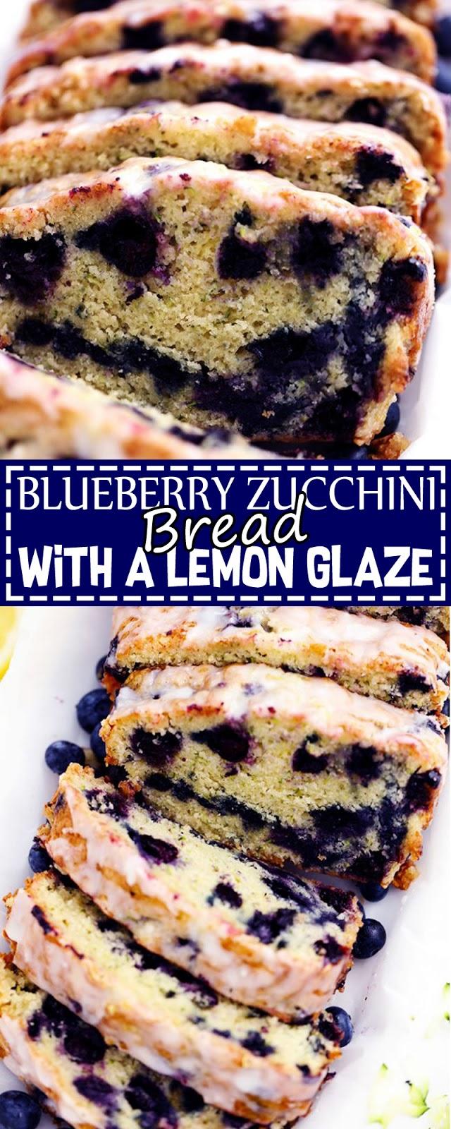 BLUEBERRY ZUCCHINI BREAD WITH A LEMON GLAZE