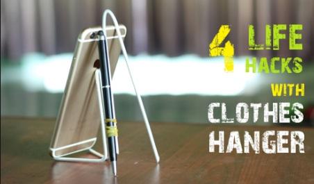 Handphone stand dari kawat gantungan baju