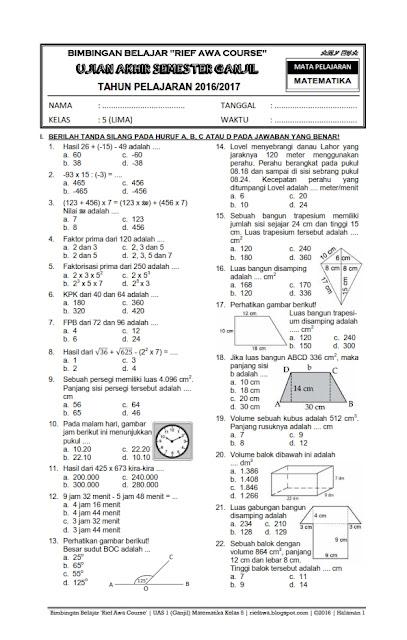 Download Paket Soal Uas Ganjil Kelas 5 Sd Mi Semester 1 Kurikulum 2006 Ktsp Rief Awa Blog