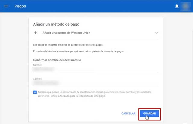datos de adsense guardados