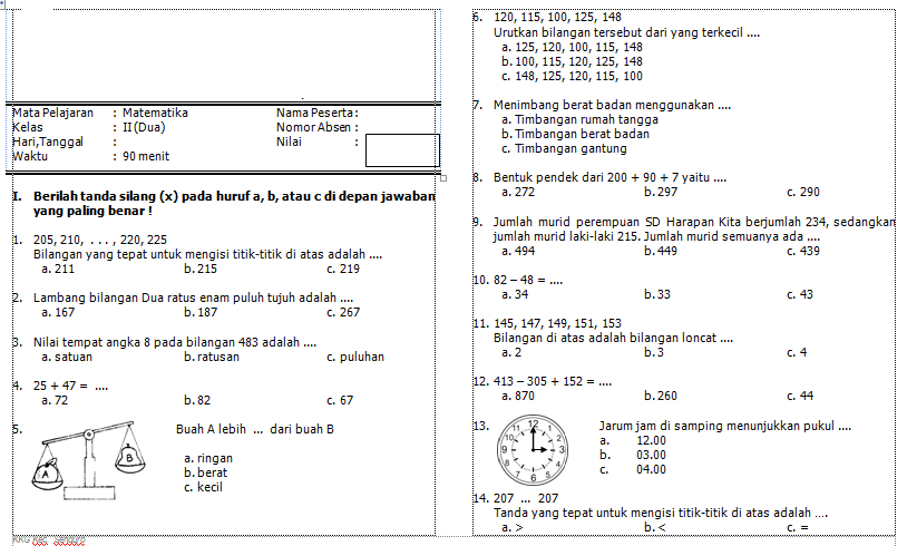 Download Soal Matematika Kelas 2 SD Semester 1 Lengkap  Download Administrasi Sekolah