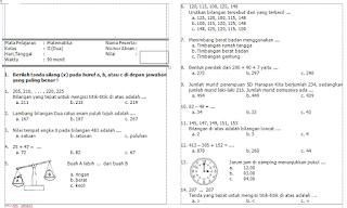 Soal Matematika Kelas 2 SD ini terdiri dari Pilihan Ganda dan Uraian untuk Soal Ulangan Harian 1 Matematika, Soal Ulangan Harian 2 Matematika, Soal Ulangan Tengah Semester 1/ Soal UTS 1 Matematika, Soal Ulangan Akhir Semester 1/ Soal UAS Matematika Semester 1.