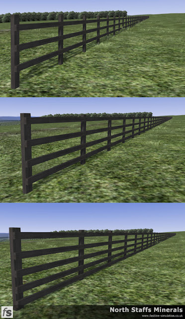 Fastline Simulation - Timber railed fencing for field boundaries.