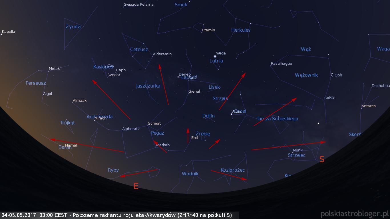 04-05.05.2017  03:00 CEST - Położenie radiantu roju eta-Akwarydów ZHR~40 na półkuli S