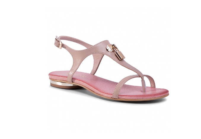 Sandale dama fara toc roz din piele naturala R.POLAŃSKI