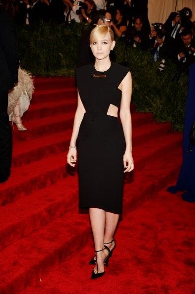 Carey Mulligan in black and cut away Balenciaga at the Met Gala 2013
