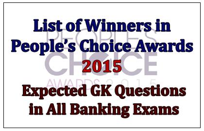 List of Winners in People's Choice Award 2015