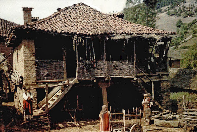 A terraced house in the Gorna neighboorhood. In the yard are peasant women in traditional costumes. There are also two-wheeled carts for the needs of the property. - Macedonia 1913