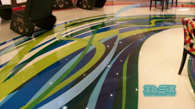 artistic 3d epoxy floor coating for restaurant