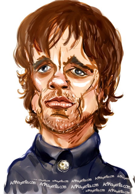 Peter Dinklage caricature cartoon. Portrait drawing by caricaturist Artmagenta