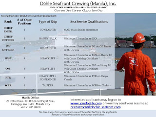 Available merchant seaman careers for Filipino crew work at a container, handy bulk carrier, heavy lift, tanker ships