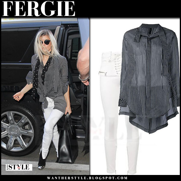 Fergie in black striped unravel shirt and white jeans what she wore