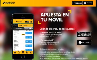 betfair Móvil nuevas app apuestas deportivas en iPhone, iPad, Android
