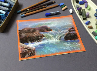 A soft pastel study of waterall on Canson Mi Teintes paper. By Manju Panchala