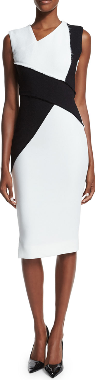 Victoria Beckham Sleeveless Asymmetric Colorblock Sheath Dress b/w