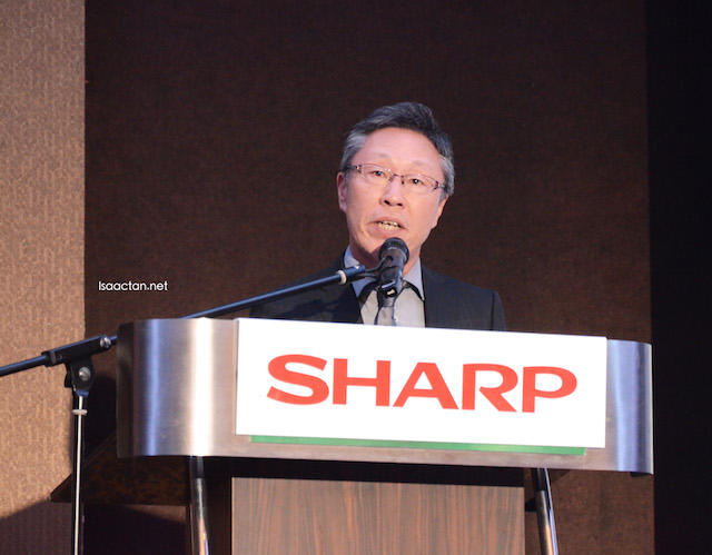 Mr Akira Atarashi , CEO - Asia, Middle East & Africa, General Manager, Sales and Marketing Asia Pacific and Chairman of Sharp Electronics (M) Sdn Bhd giving the opening speech at the launch