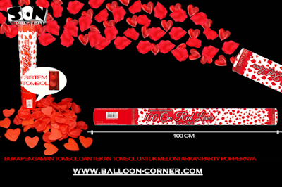Party Popper Red Lover / Confetti Red Lover Ukuran 100 Cm (TOMBOL / PENCET)