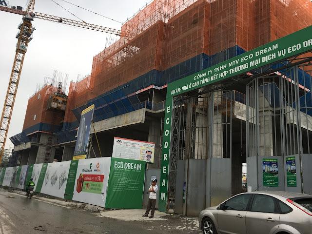 Cận cảnh tiến độ xây dựng Eco Dream ngày 28/04/2018
