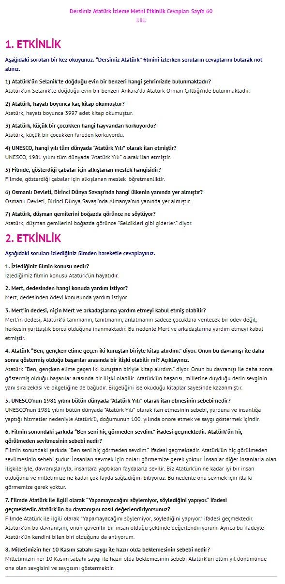 Dersimiz Atatürk Dinleme İzleme sayfa 60