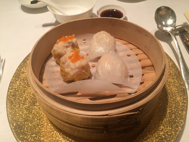 Shrimp dumplings and shrimp & pork dumplings at Shang Palace, Shangri-La Paris