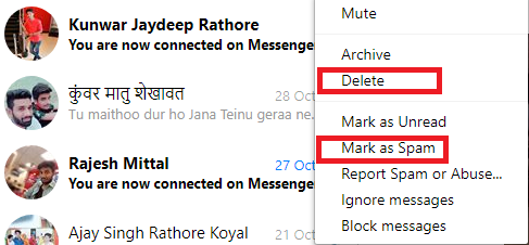 how to permanently delete facebook spam message