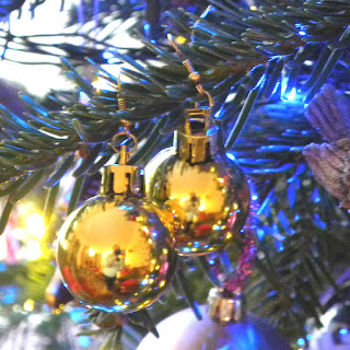 Golden Christmas bauble earrings