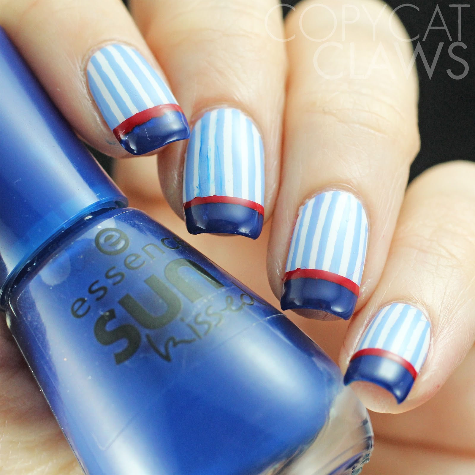 Copycat Claws Blue Color Block Nail Art: Copycat Claws: The Digit-al Dozen Does Fashion