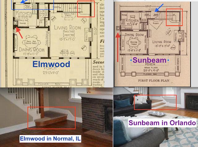 Sears Elmwood vs Sears Sunbeam comparing staircase entry step